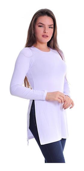 Blusa Feminina Manga Longa Com Laterais Abertas Camisa Malha