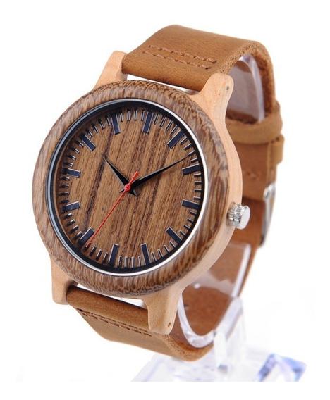 Relógio Unissex Bambu Madeira Black Bobo Bird M14