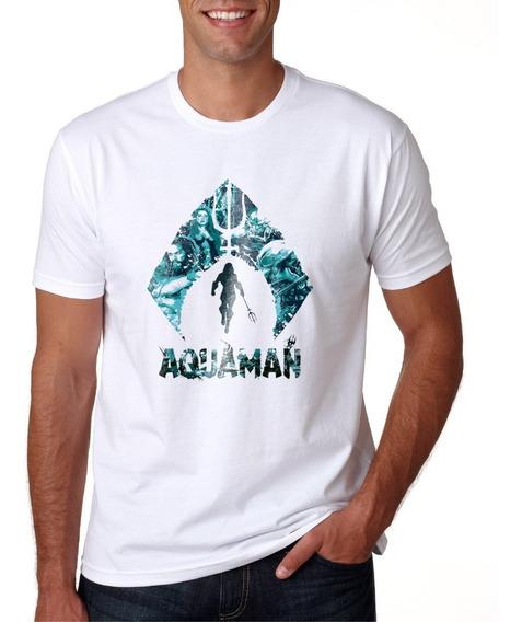 Camisa Masculina Super Herói Aquaman Manga Curta