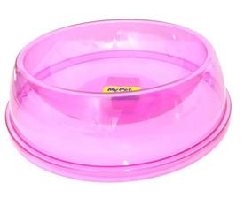 Comedouro Cristal Cães E Gatos Filhote Polymer Pequeno Rosa