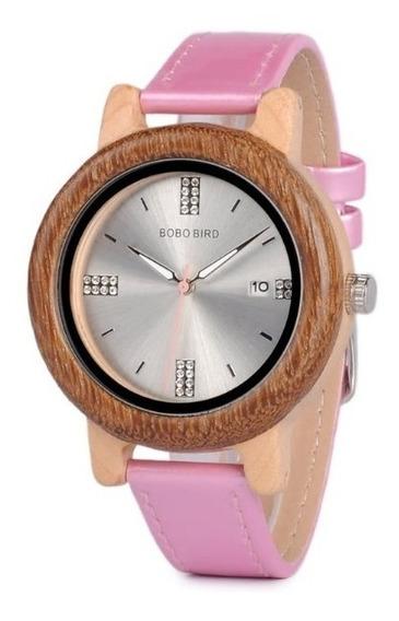 Relógio Feminino Bambu Madeira P29a Pink Analógico Bobo Bird