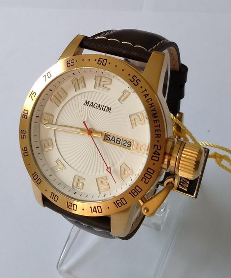 Relógio Masculino Dourado Magnum Pulseira Couro Ma33139b.