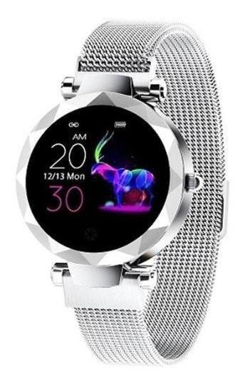 Reloj Inteligente Smart Watch Hi18 Plateado Bluetooth Mujer