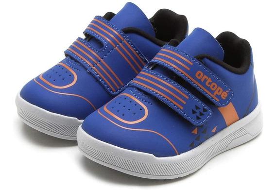 Tênis Infantil Ortopé Play Azul Masculino Velcro Original