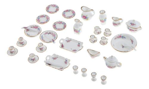 Imagen 1 de 6 de Juego De Tea Set De Flores De Porcelana Olla Taza Platillo
