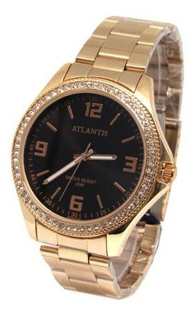 Relógio Feminino Atlantis Rose Fundo Preto