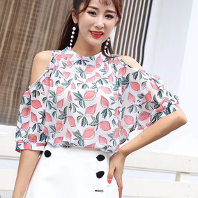 Mulheres Frio Ombro Blusa Drapeado Impressão Tecido De Seda