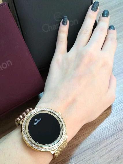 Relógio Champion Digital Redondo Com Strass Dourado Ch48037v