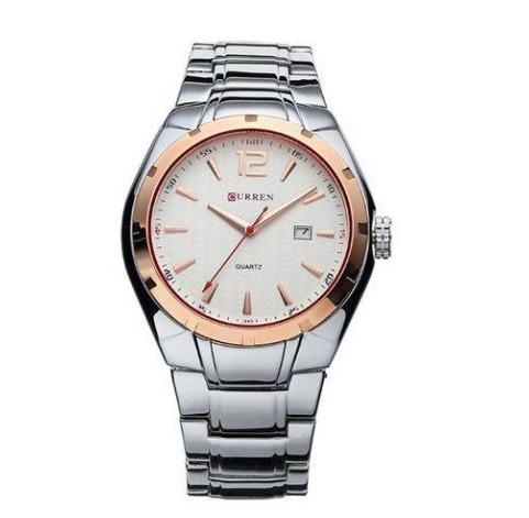 Relógio Masculino Prata Dourado Curren 8103 Frete Grátis