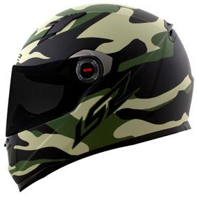 Capacete Ls2 Ff358 Army Preto / Verde Fosco - Camuflado