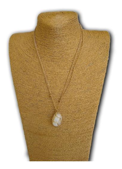 Colar De Pedra Natural Quartzo Branco Ref: 7890