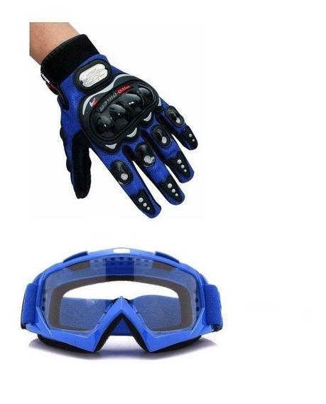 Kit Trilha Oculos + Luva Probiker Asw Fox 100% Protork Thor