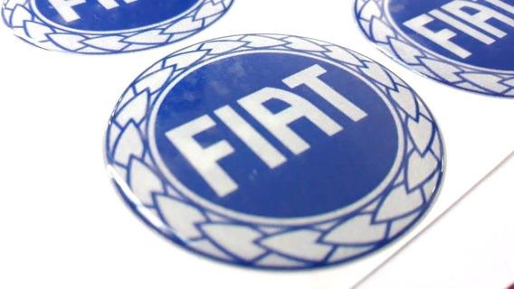 Kit 04 - Adesivo Calota Resinado Fiat Azul (50mm) + Chaveiro
