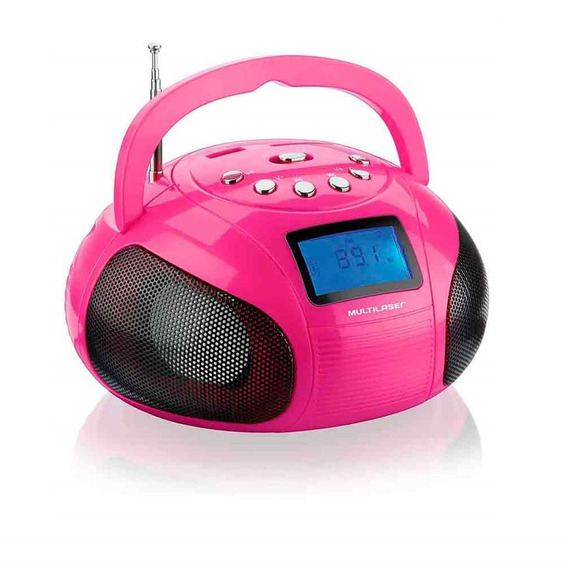 Caixa De Som Mini Boom Box 10w Rms Usb Sd Aux Fm Rosa
