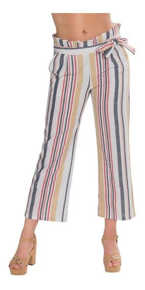 Pantalon Dama Ancho Flojo Rayado Blanco Cinturon Moda W91121