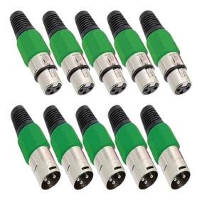 Kit 10 Plug Conector Xlr Cannon Macho Femea Corpo Plast Full