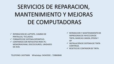 Servicios De Reparación De Equipo De Computación