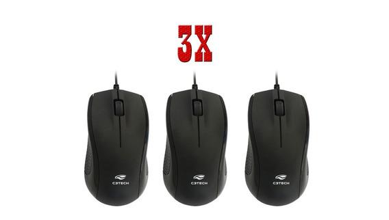 Kit 3 Mouse Otico Usb C3tech Ms-25bk Preto