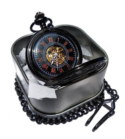 Reloj De Bolsillo Tipo Vintage Negro Mecanico De Cuerda Leon