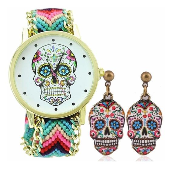 Relógio + Par De Brincos Caveira Mexicana