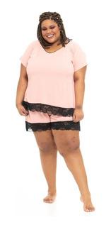 Shorts Plus Size Wonder Size Pijama Renda Rosa