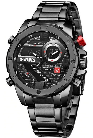 Relógio Militar Black S-waves (original E Novo)