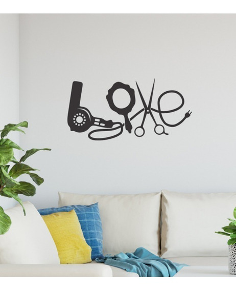 Adesivo Decorativo Love Salão De Beleza Utensilios