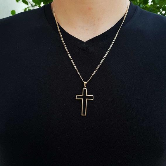 Kit Correntinha Com Pingente Cruz Crucifixo Banhado Ouro