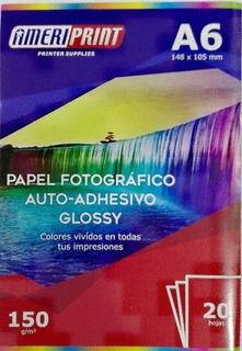 Papel Fotografico Ameriprint A6 Glossy Adhesivo 130grs X20