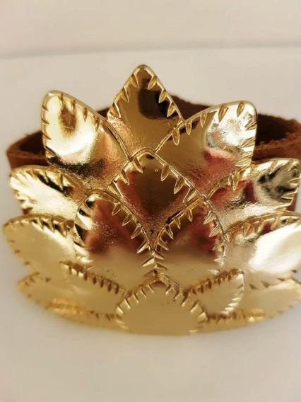 Bracelete Couro Flor Dourada