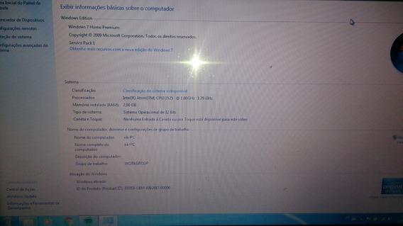 Notebook Atom Cpu D525 @ 1.80 1.79ghz 2gb De Memoria 500 Hd