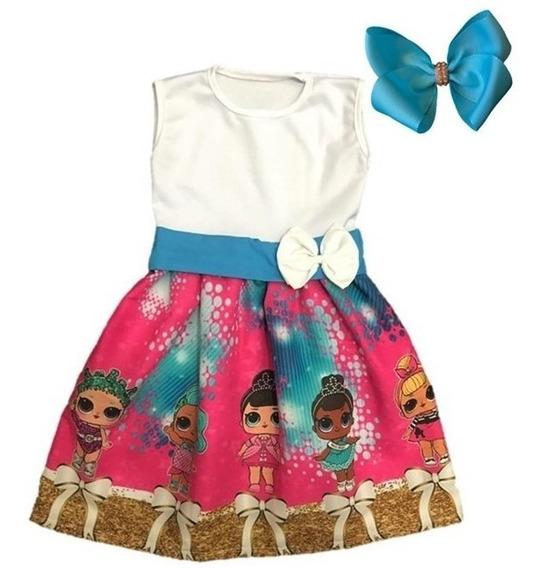 Vestido Infantil Festa Temático Lol Surprise + Laço Brinde