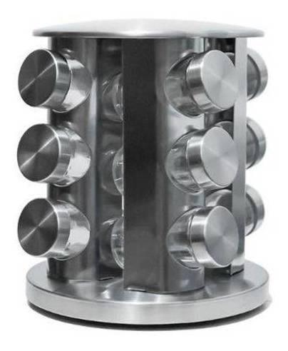 Super Porta Condimentos Giratorio Magnetico 12 Potes Inox
