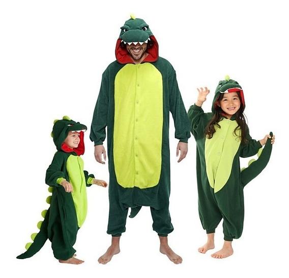 Pijama Macacão Kigurumi Dinossauro Verde E Rosa