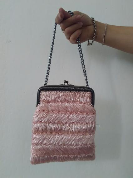 Clutch Sobre Con Cadena De Colección Color Rosa