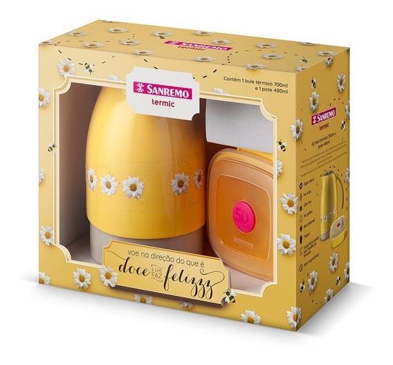 Conjunto Bule Termico 700ml Amarelo E Pote 480ml Sanremo