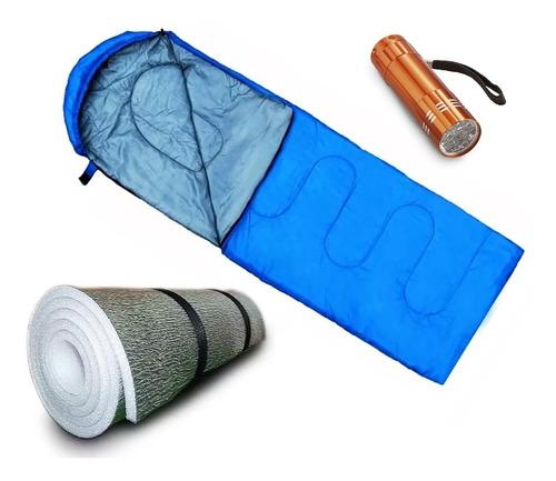 Imagen 1 de 10 de Combo Bolsa Dormir Termica 0 C° Con Capucha + Aislante + Linterna Led Pilas Inncluidas Camping Colegio Niños Chicos