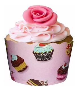 Saia Wrapper Para Cupcake Rosa Com Bolinhos Pct 24 Unid