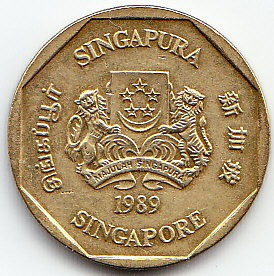 Singapur. Moneda De One Dollar 1989. (#).