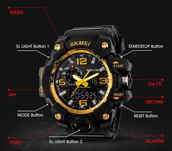 Kit 2 Relógios Skmei 155 Esp-alarme-cronôm-fusos Hor-wr 50m