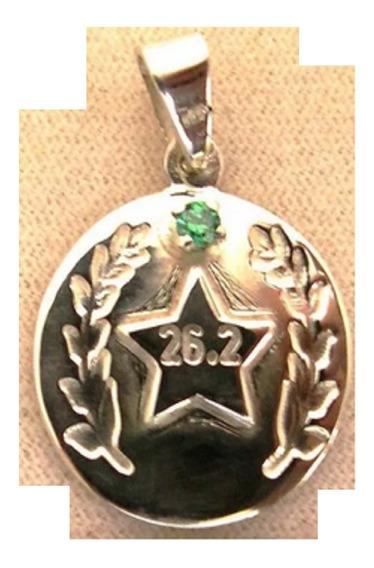 Medalla Con Zirconia Verde (plata Ley 950)