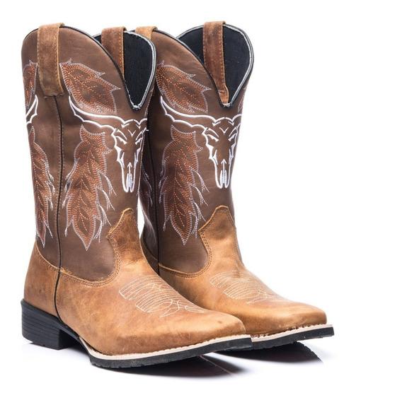 Bota Texana Masculino Em Couro Legitimo Cara De Boi Whisky
