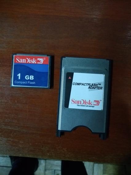 Cartão Compact Flash Sandisk 1gb Com Adaptador