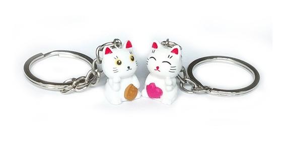 2 Collar O Llavero Gato Suerte Atrae Amor Dinero