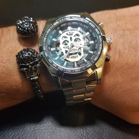 Reloj Plata Mecanico Skull Calavera Skeleton + Pulsera Doub