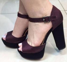 9639bf53e7 Sandalia Meia Pata Salto Grosso Vinho - Sapatos no Mercado Livre Brasil