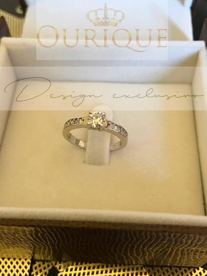 Anel Solitário De Noivado Ouro 18k 750 Com Diamantes Sonho