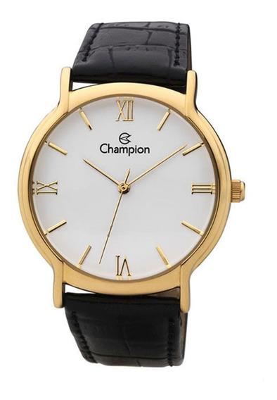 Relógio De Pulso Champion Ch22206 Dourado E Branco Couro