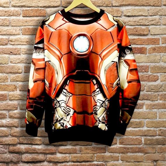Buzo Iron Man, Cuello Redondo, Fullprint, Algodón Sublimable