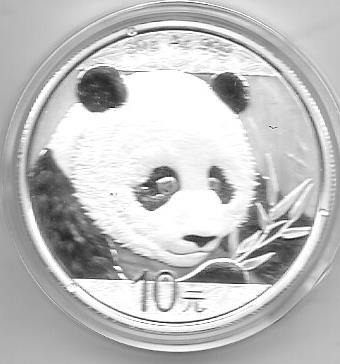 Moneda China 1 Onza Plata Año 2018 Oso Panda En Capsula